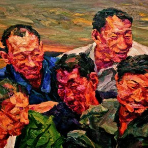 "070 Xie Dongming, ""Five Men Living at the Riverside of Yellow River""; oil on canvas, 80x100cm"
