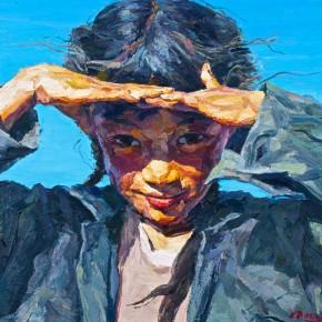 "076 Xie Dongming, ""Blazing Sun"", 2006; oil on canvas, 20×100cm"