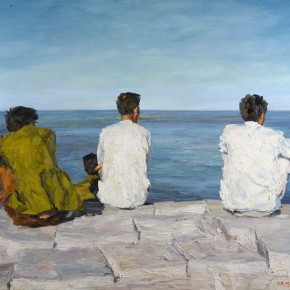 """082 Xie Dongming, """"Watching the Sea"""", 2007; oil on canvas, 30×190cm"""