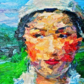 "087 Xie Dongming, ""Singer of Lei Mountain"", 2008; oil on canvas, 130×190cm"