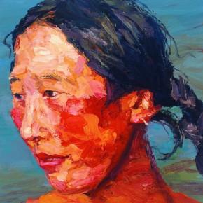 """091 Xie Dongming, """"Tibetan Woman from Macai""""; 46x36cm"""