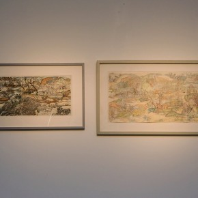 """Ji Yun-fei, """"The Lower Ninth Ward and Assessing the Damage"""", 2008; color pencil on paper, 35.6× 84cm"""
