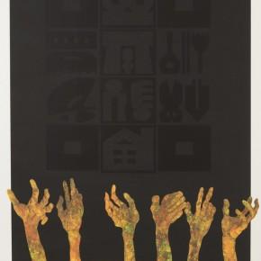 "Liao Shiou Ping( Taiwan), ""Silence""; silkscreen and intaglio, 87x65cm"