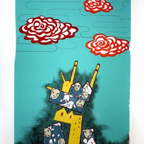 "Mona Choo( Singapore), ""Prospering Business"", 2008; silkscreen, 100x70cm"