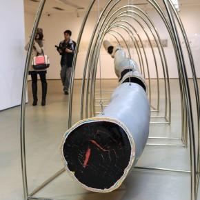 "Shao Yinong, ""Woody Heart--Ten Years Tree Ring"", 2012; installation, 660× 172cm (2)"