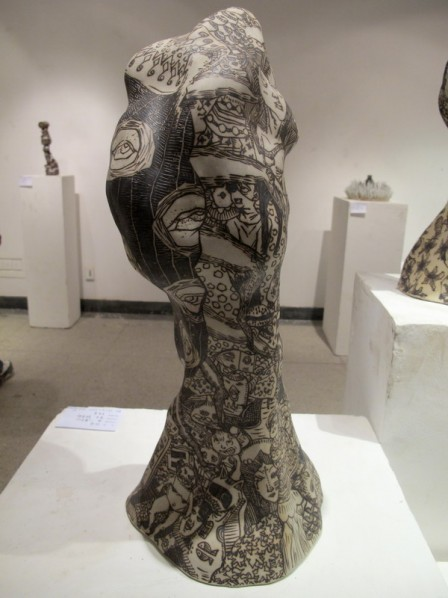 Sun Zheng, Demon-Beast No.1; clay and black mental, 57×24×25cm