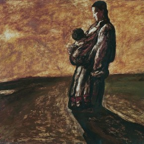 "Tan Ping, ""Mother and Son"", 1984; Acrylic, 50 x 55 cm"