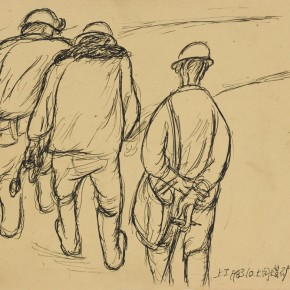 "Tan Ping, ""Quick Sketching on Miners"", 1983; Charcoal, 22 x 27 cm"