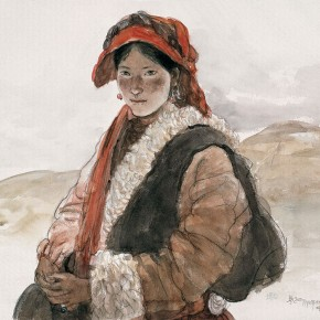 Wu Changjiang, A Tibetan Woman of Ganzi, April 1993; watercolor