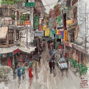 Wu Changjiang, Business Street near the Palace, August 10, 2005; watercolor, 76×56cm(Katmandu)