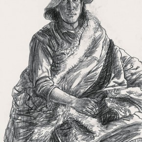 Wu Changjiang, Duojieangxiu, April 26, 2010; charcoal pencil on paper, 65×50cm(at Maixiu, Qinghai)