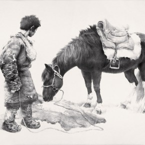 Wu Changjiang, Feeding the Horse, 1982; lithograph, 64×83cm