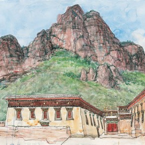 Wu Changjiang, Ra'gyagoinba and Magic Mountain, August 20, 2002; watercolor, 56×76cm