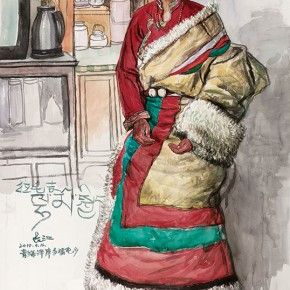 Wu Changjiang, Lamaojie, April 16, 2010; watercolor, 187×112cm
