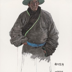 Wu Changjiang, Lashijiebu, August 30, 2010; watercolor, 168×112cm
