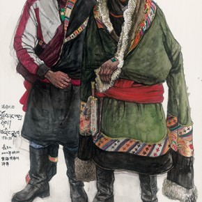 Wu Changjiang, Luosangzaxi and Cairangjia, April 13, 2012; watercolor, 182×109cm(at Zeku, Qinghai)