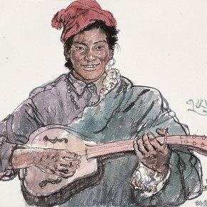 Wu Changjiang, Performer Yueduo, October 4, 2006; watercolor, 56×76cm(at Yushu, Qinghai)