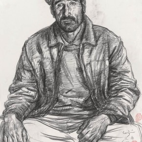 Wu Changjiang, Portrait of Wenxi, June 3, 2011; charcoal pencil on paper, 65×50cm(at Taheman, Xinjiang)