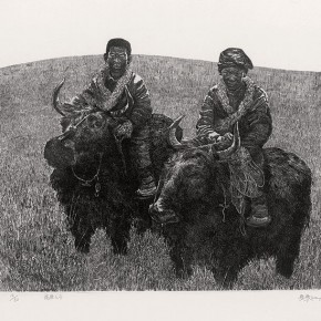Wu Changjiang, Son of the Plateau, 1994; It won the Bronze at the 13th Nationhal Print Exhibition, 50×39cm