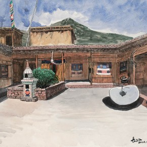 Wu Changjiang, Tibetan Courtyar, April 28, 2010; watercolor, 40×65cm(at Tongren, Qinghai)