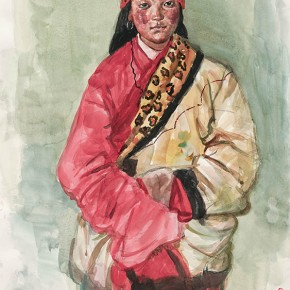 Wu Changjiang, Tibetan Girl Student No.2, August 5, 2004; watercolor, 76×56cm(on Guoluo Prairie)