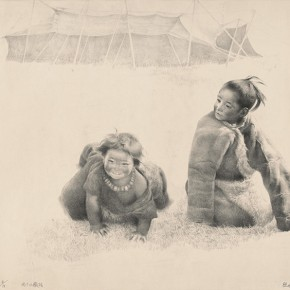Wu Changjiang, Two Tibetan Children, 1982; lithograph, 65.3×86cm