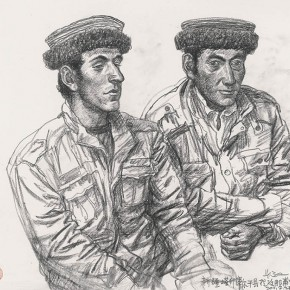 Wu Changjiang, Two Young Fellows, July 21, 2011; charcoal pencil on paper,(at Napu, Xinjiang)