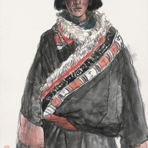 Wu Changjiang, Young Man Named Gebu, April 22, 2006; watercolor, 76×56cm(Zeku Prairie in Qinghai)