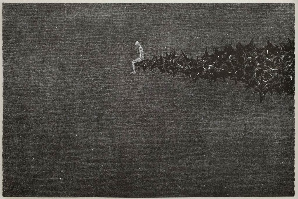 Yang Hongwei, EBB No.5, 2012; Woodcut on Rice Paper, 82cmx120cm
