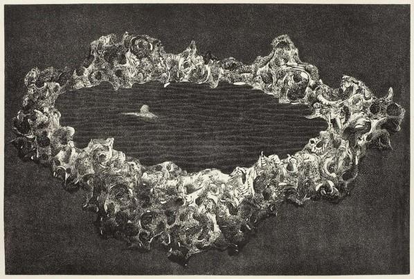 Yang Hongwei, EBB No.6, 2012; Woodcut on Rice Paper, 82cmx120cm