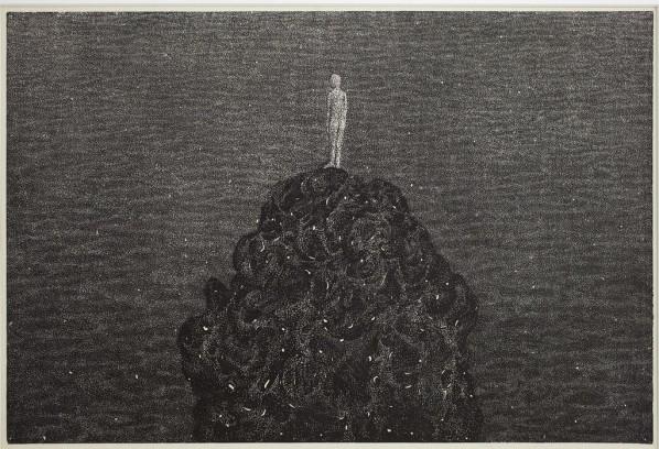 Yang Hongwei, Tidal Bore Watching, 2012; Woodcut on Rice Paper, 82cmx120cm