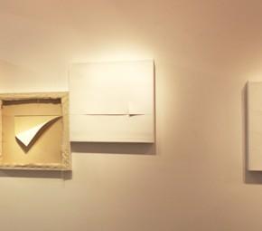 Painting is painting is painting is … relationship Bianca Lei Sio Chong 300 x 90cm(60 x 60 x 10cm, 60 x 60 x 6cm, 60 x 60 x 8cm, 60 x 60 x 8cm) Mixed media (acrylic on canvas and wood frames 2012