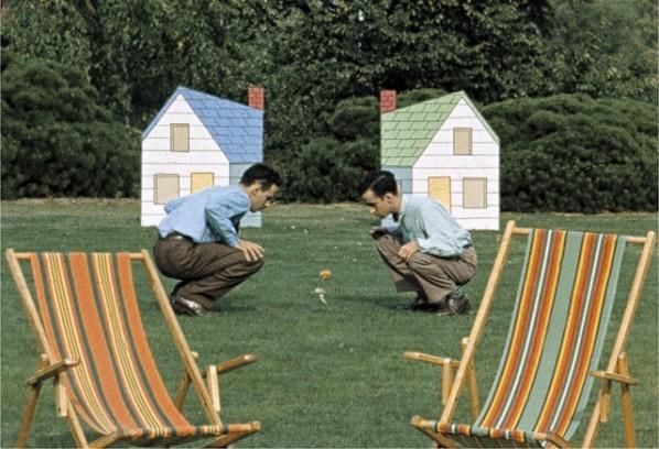 """A scene from Norman McLaren's 1952 film """"Neighbours"""""""