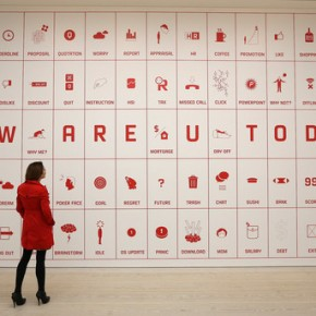 An employee looks at artist Justin Wong's 'Difficult Life Station'; Photo Courtesy: Peter Macdiarmid/Getty Images Europe