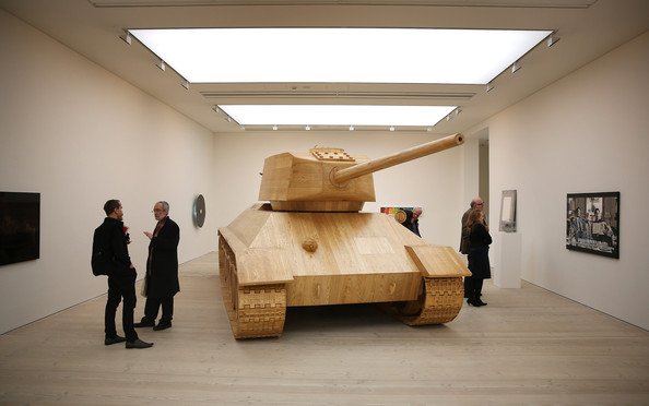 Artist Amy Cheung's full size wooden 'Toy Tank'; Photo Courtesy: Peter Macdiarmid/Getty Images Europe
