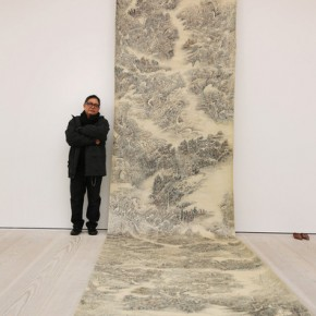 Artist Kui Ting Leung stands with his silk ink scroll entitled 'Landscape GPS'; Photo Courtesy: Peter Macdiarmid/Getty Images Europe