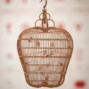 Chi Keung Kum's bamboo, paper and clay birdcage hangs at the 'Hong Kong Eye' exhibition; Photo Courtesy: Peter Macdiarmid/Getty Images Europe