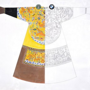 """Cui Qiang, """"Made in China No.1"""", 160×190 cm, colored on silk, 2012"""