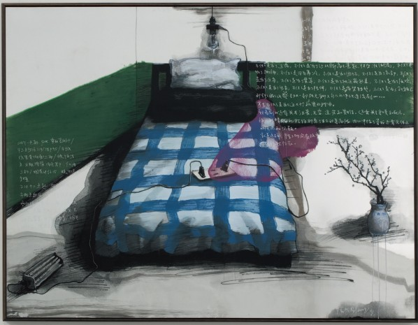 Green Wall: Bedroom by Zhang Xiaogang, 2009; stainless steel plate, silkscreen prints, oil and silver pen, 150 x 200 cm