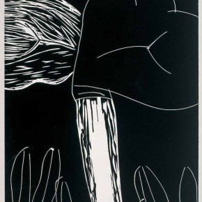 "Guang Jun, ""Leaves of Lotus"", 2009; woodcut in black and white, 80 x 120 cm"