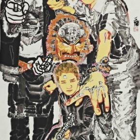 "Huang Yihan, ""Cartoon Hero"", 122×244 cm, ink on paper, 2011"