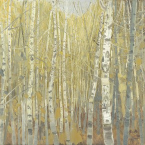 "Li Jiangfeng, ""Four Seasons of Birch - Autumn"", 2011; oil on canvas, 150×150cm"
