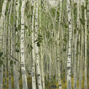 "Li Jiangfeng, ""Four Seasons of Birch - Summer"", 2011; oil on canvas, 150×150cm"
