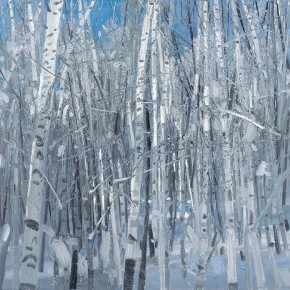 "Li Jiangfeng, ""Four Seasons of Birch - Winter"", 2011; oil on canvas, 150×150cm"