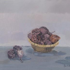 "Li Jiangfeng, ""Hindu Lotus Seedpod in Front of the Door"", 2011; oil on canvas, 65×80cm"