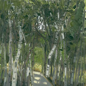 "Li Jiangfeng, ""White Meadow - Birches"", 2012; oil on canvas, 60×50cm"
