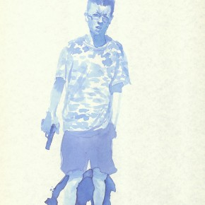 "Liu Xiaodong, ""11"", 2011; ink on paper, 27.2 x19.7cm"