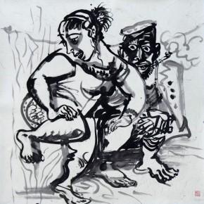 "Luo Zhongli, ""Spring Rain"", ink on paper, 125×125 cm, 2012"