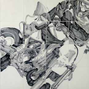 """Peng Zhenzhong, """"Beauty Shadow Running like a Dragon and Tiger"""", ink on paper, 120×180 cm, 2012"""