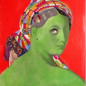Raysse Martial Made in Japan - La grande odalisque print Peinture acrylique, verre, mouche,passementerie en fibre synthétique, sur photographie marouflée sur 1300x970mm 1964